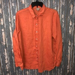J. Jill Linen Button Up Office Top Orange Solid